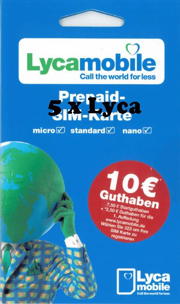 Anonyme Sim Karte.5 X Lyca Mobil Mit 7 50 Startguthaben Aktiviert